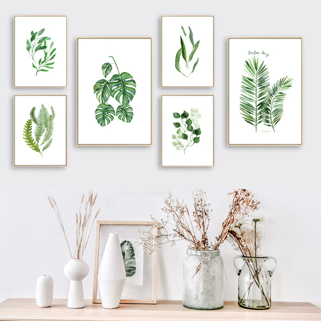 Nordic-Art-Spring-Green-Fresh-Leaf-Watercolor-A4-Canvas-Painting-Art-Print-Poster-Picture-Wall-Home.jpg_640x640